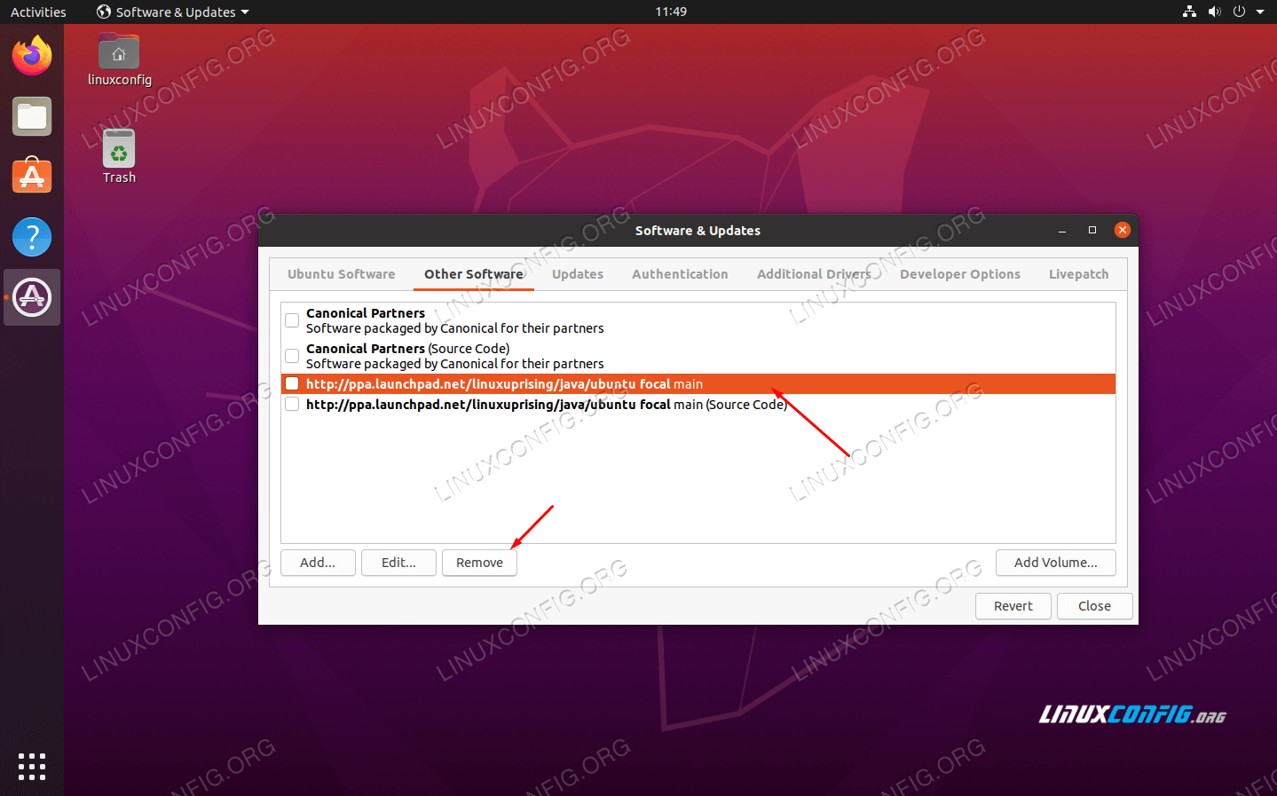Removing a PPA repository via GUI