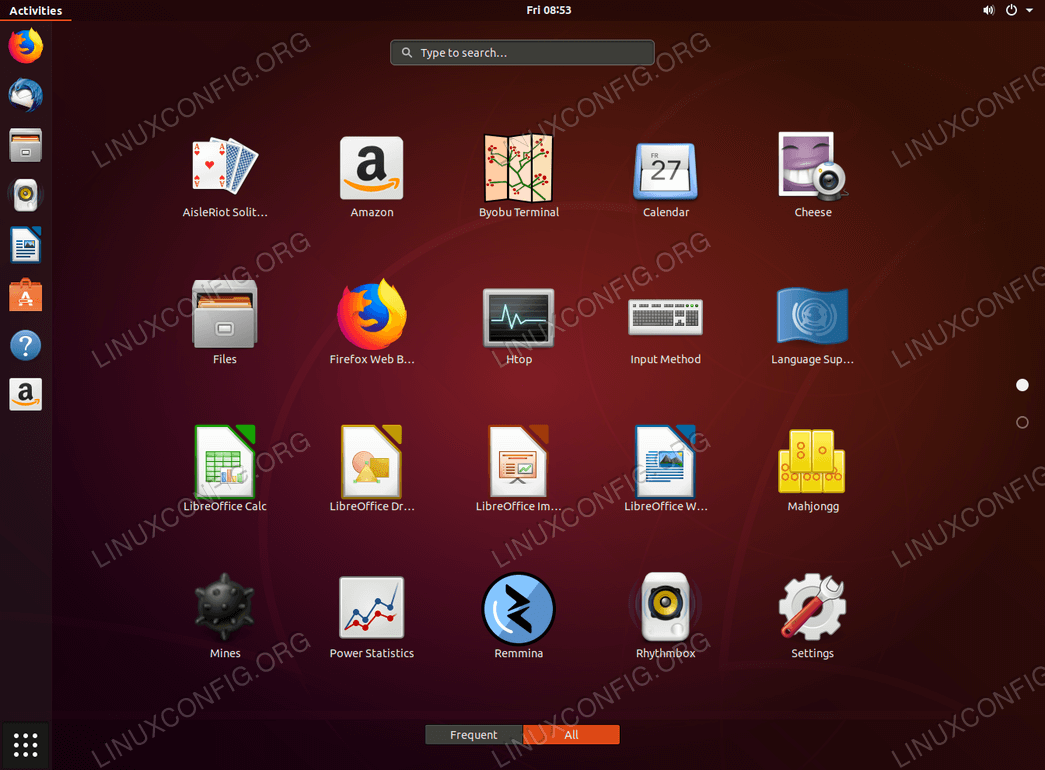 Gnome Desktop Application Menu - Ubuntu 18.04
