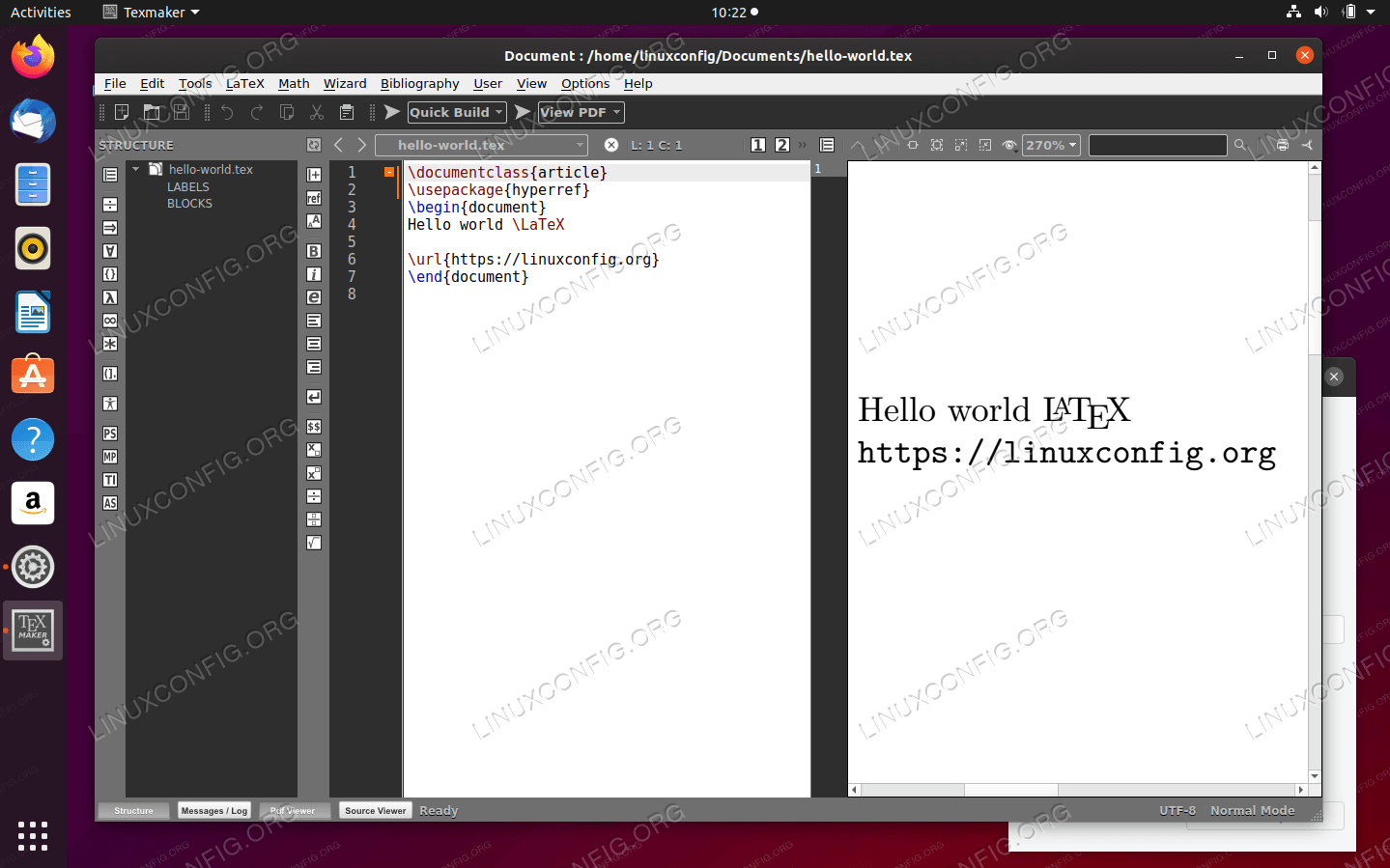 Texmaker latex editor and compiler