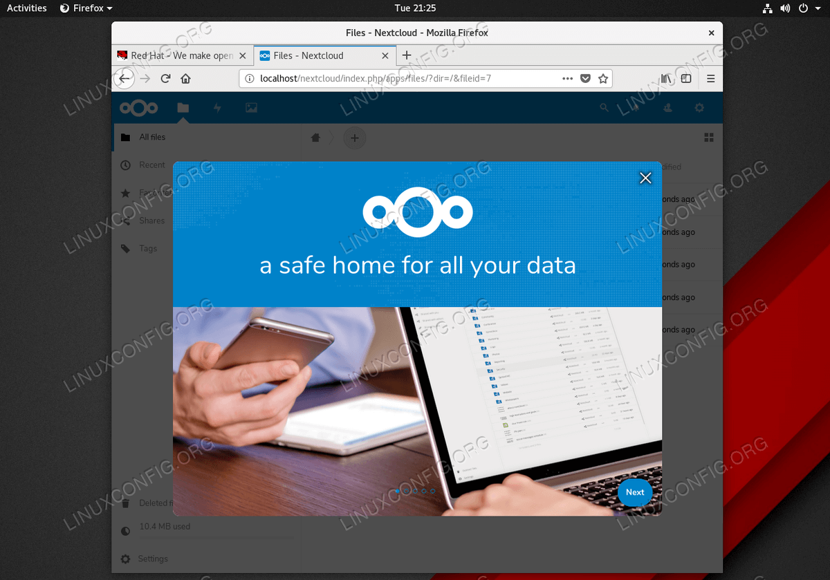 Successful Nextcloud installation on Red Hat Enterprise Linux 8