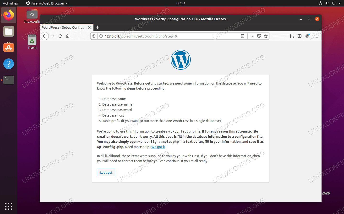 Initial WordPress setup wizard