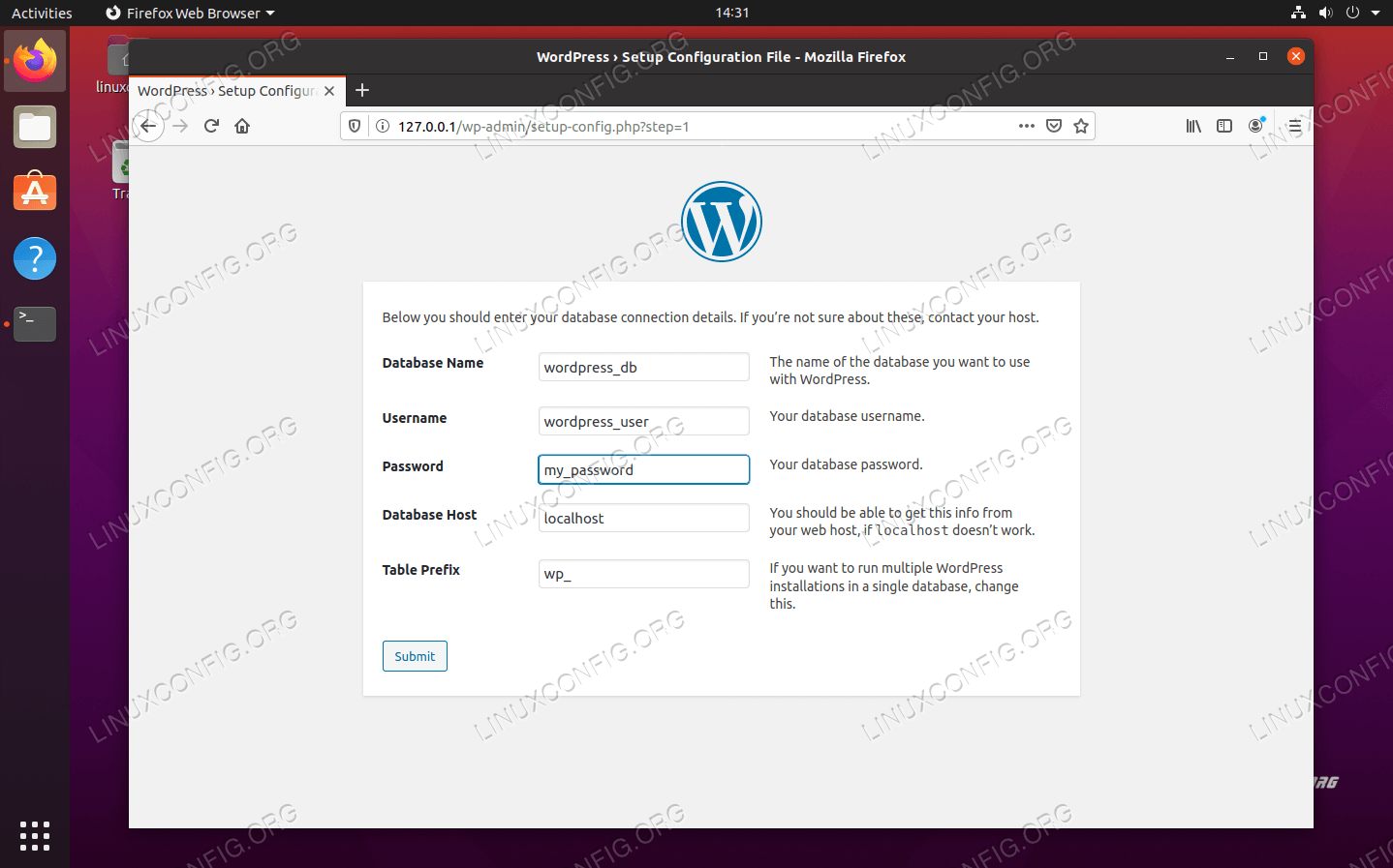 Enter the MySQL database information for WordPress
