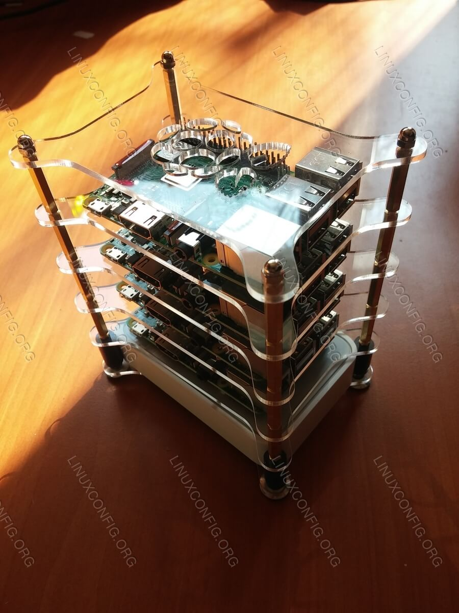 Once assembled, your future Linux cluster should look something like this