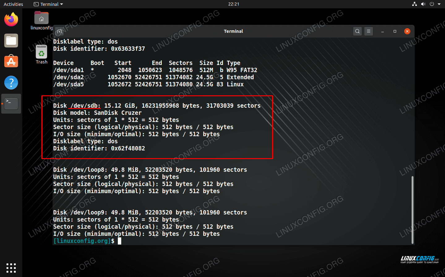 Find your device name in the fdisk output