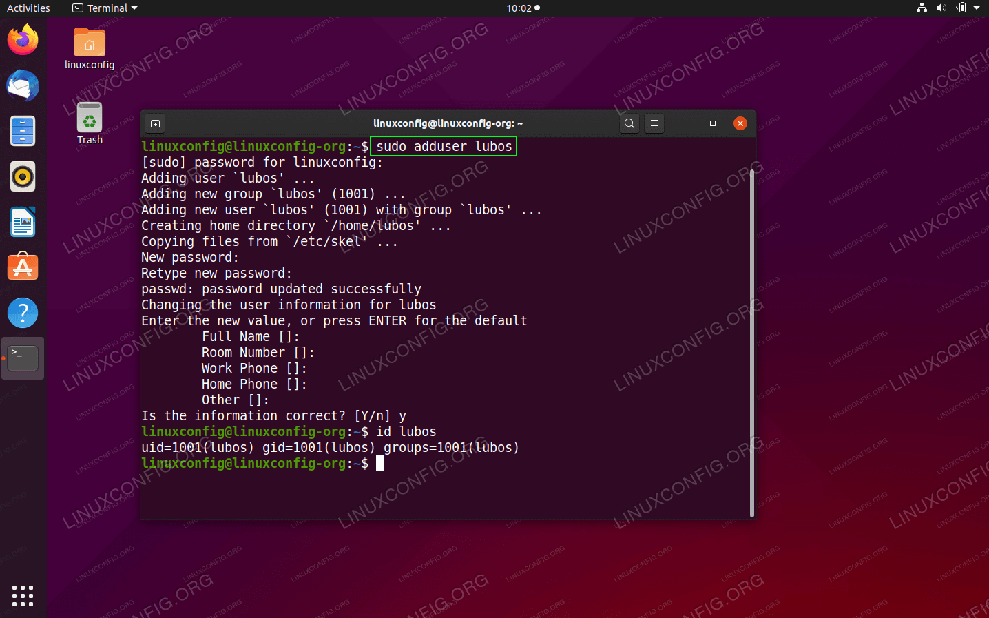 How to add user on Ubuntu 20.04 Focal Fossa Linux