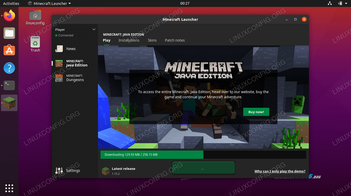 Minecraft game files are downloading