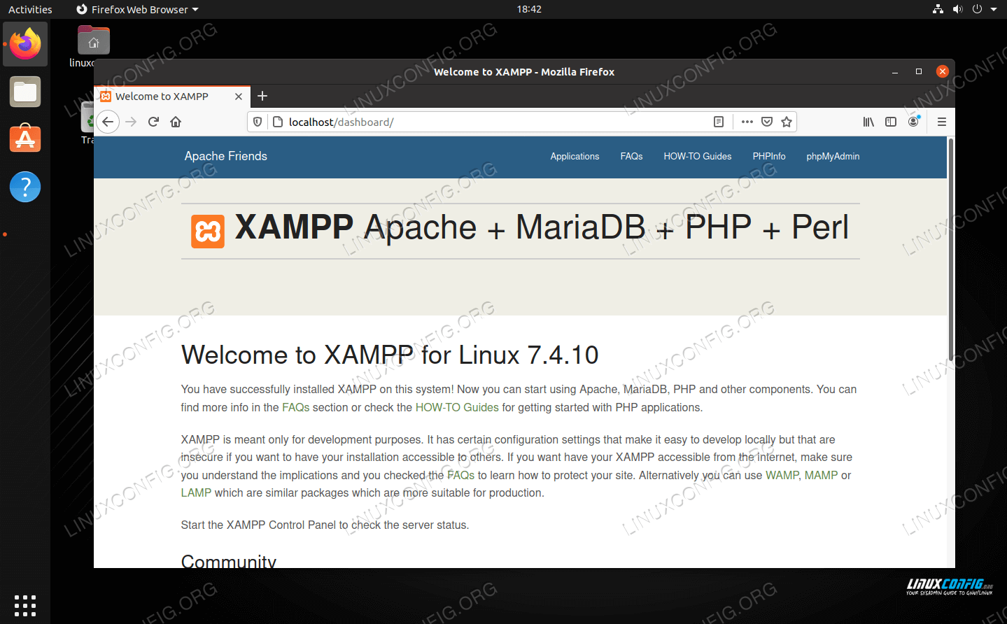 The components of XAMPP as well as additional apps can be controlled from the web panel