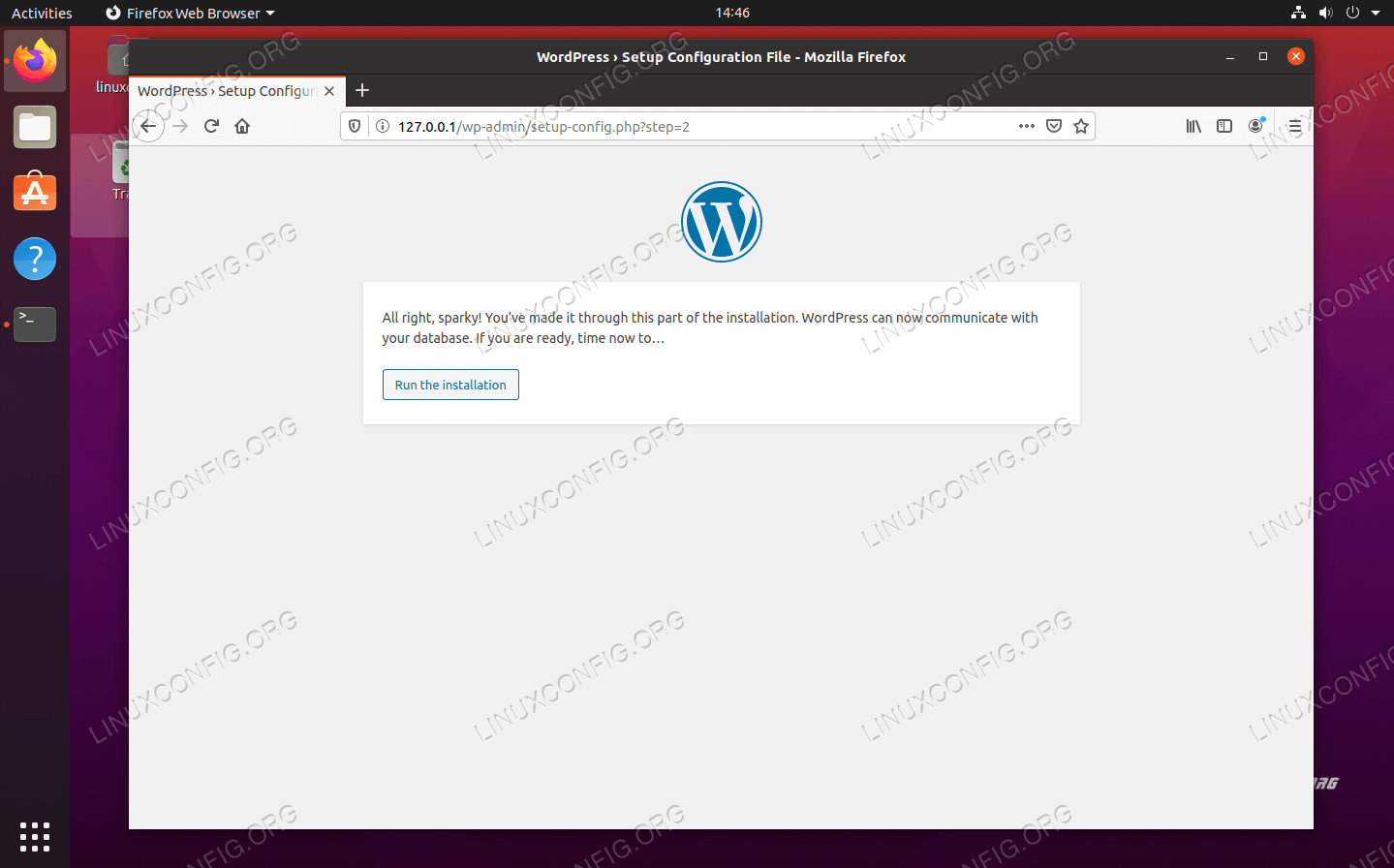WordPress confirms that it can connect to the MySQL database