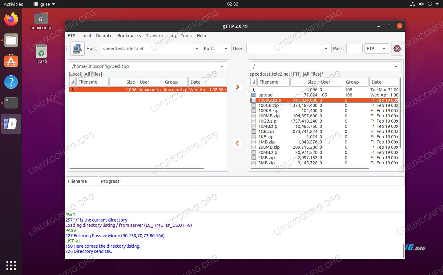 gFTP on Ubuntu 20.04