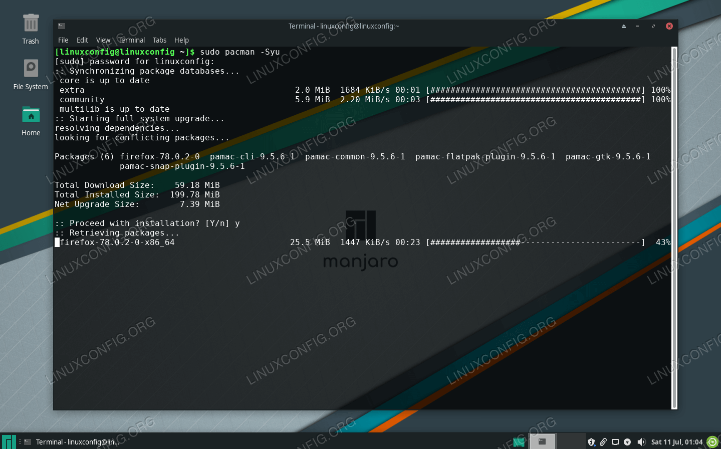 Updating Manjaro via the command line