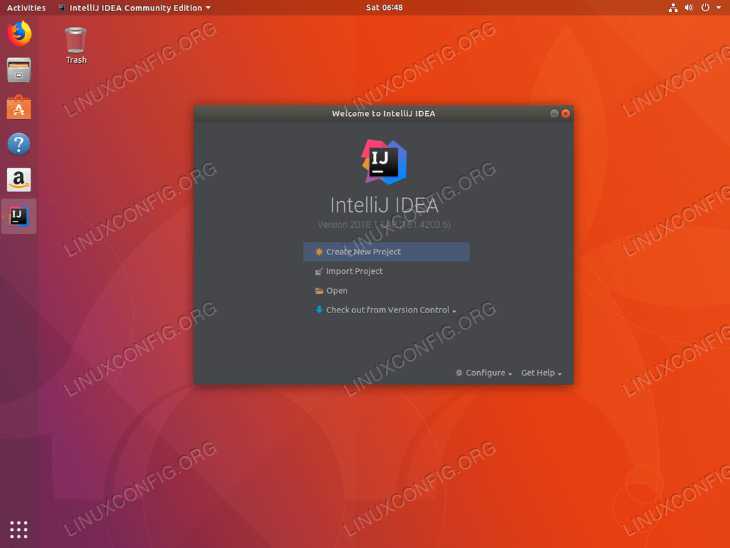 Install IntelliJ ubuntu 18.04 - Create or Import a project