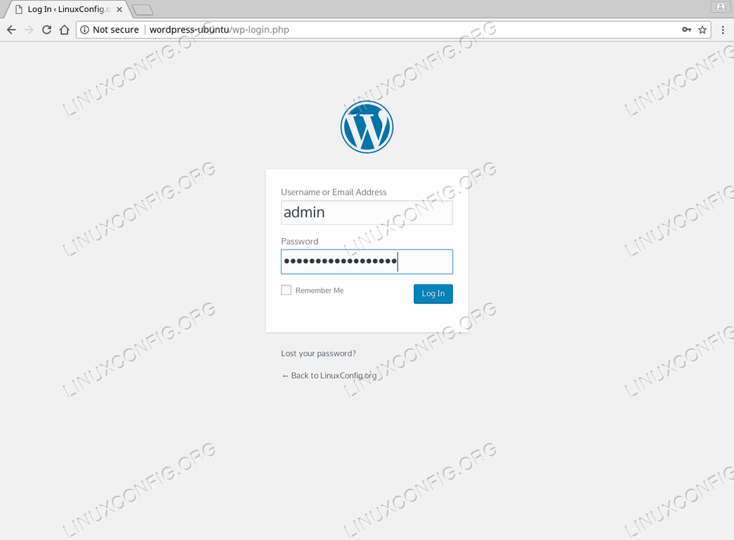 WordPress Ubuntu 18.04 - admin login page