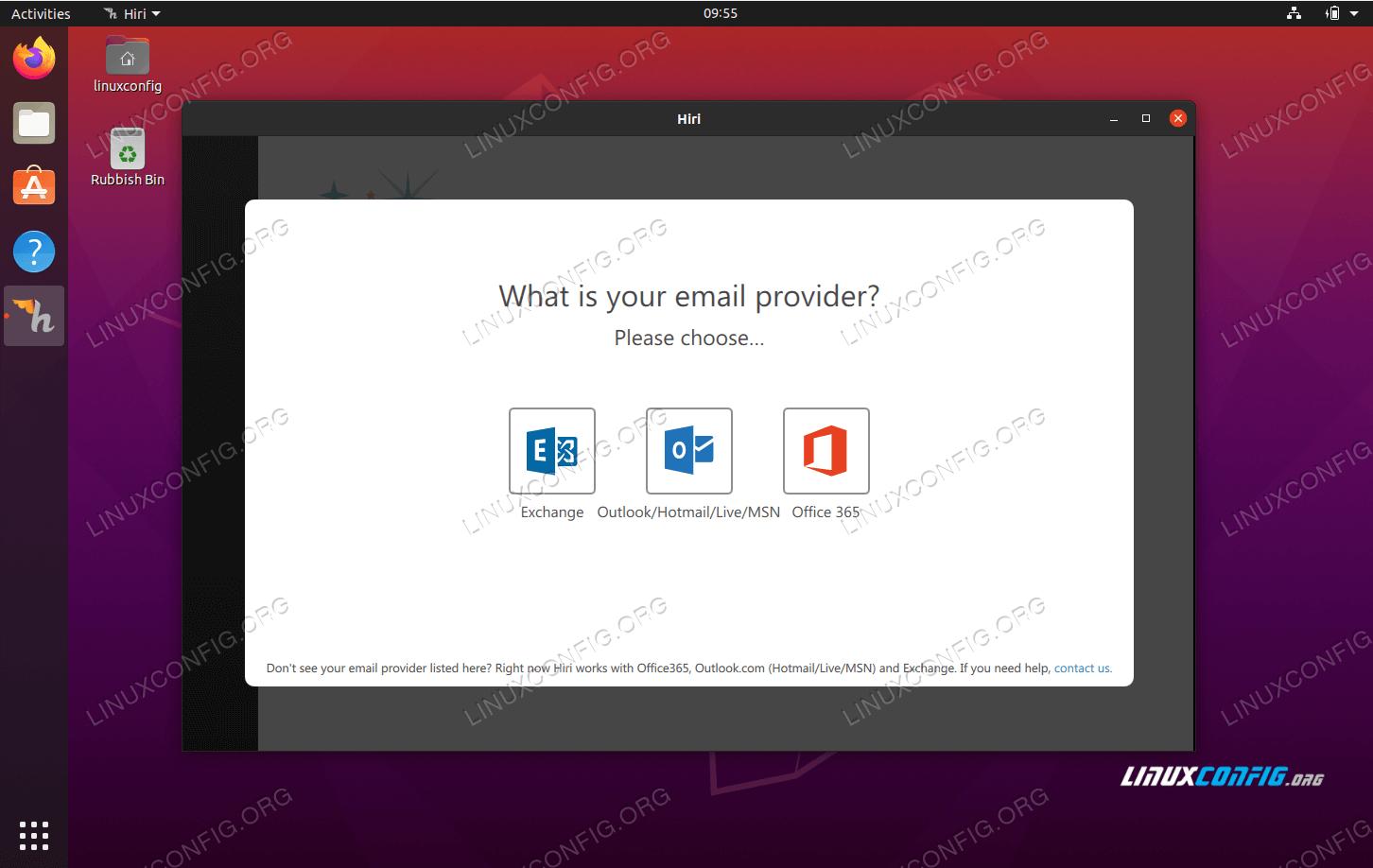 hiri desktop e-mail client on Ubuntu 20.04