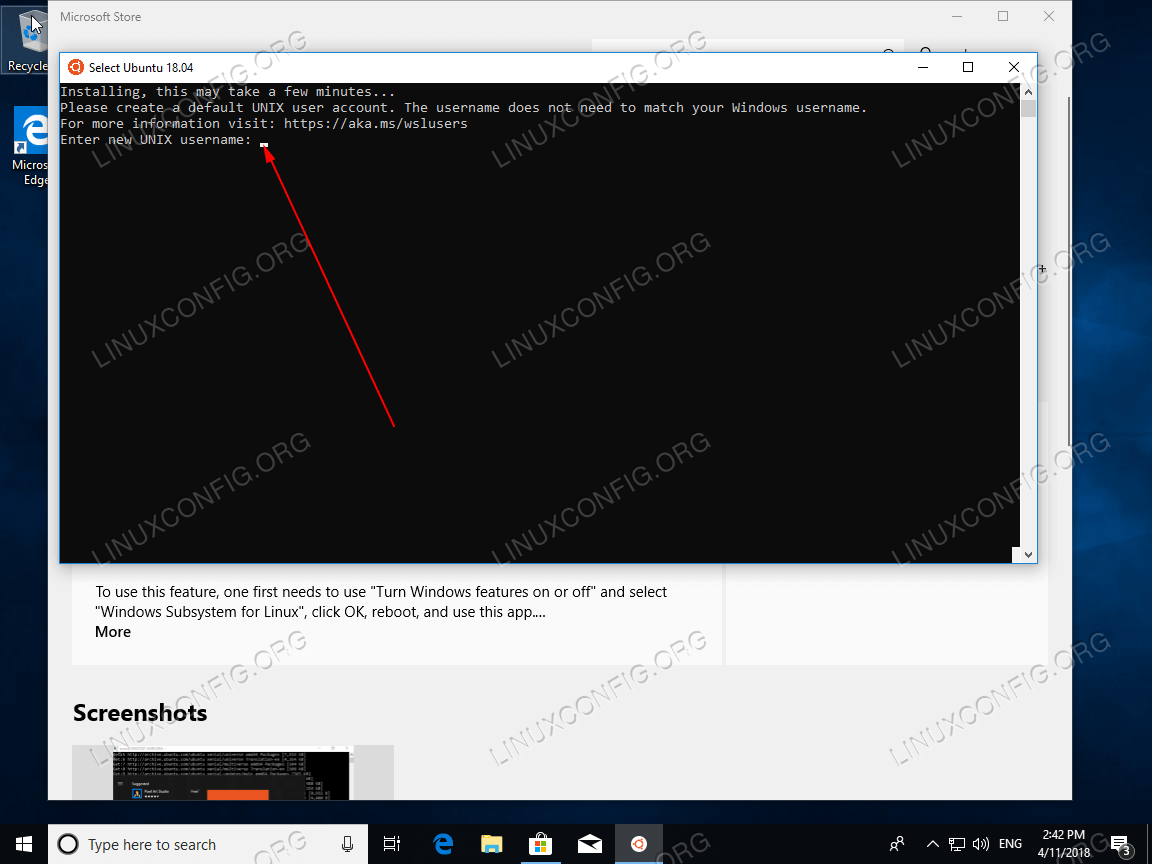 Ubuntu 18.04 on Windows 10 installation successful