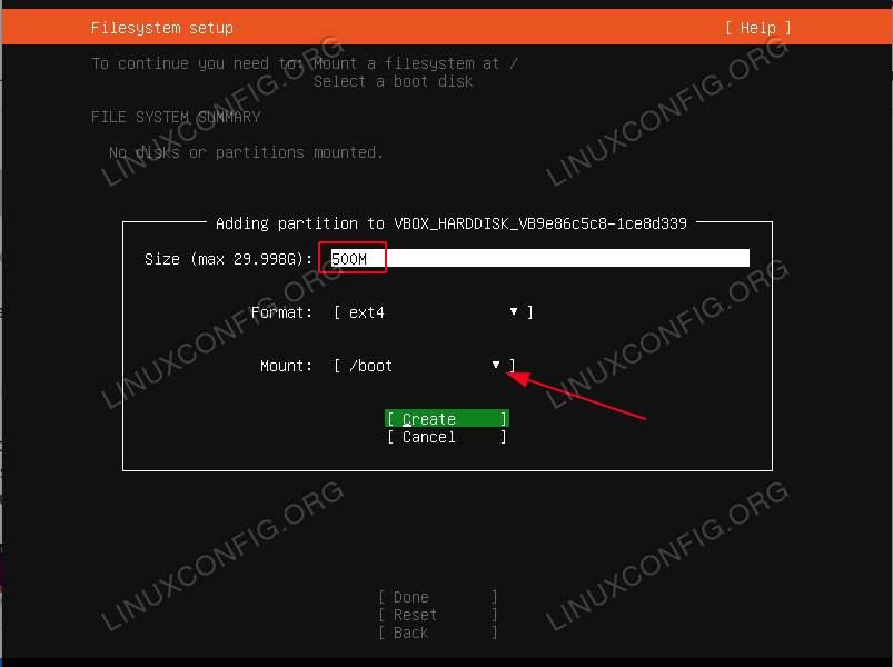 create boot partition