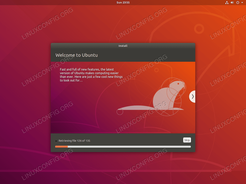 Ubuntu installation progress