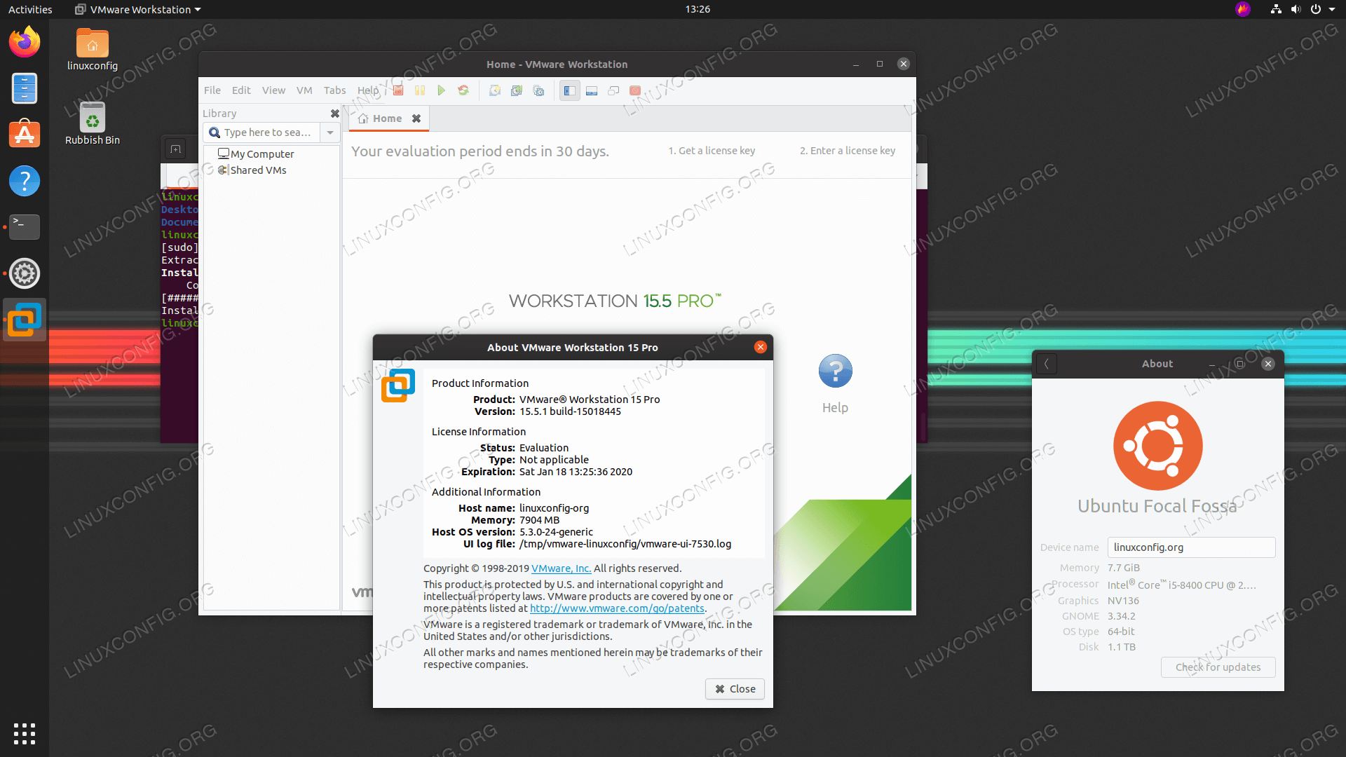 VMware Workstation PRO on Ubuntu 20.04 Focal Fossa Linux