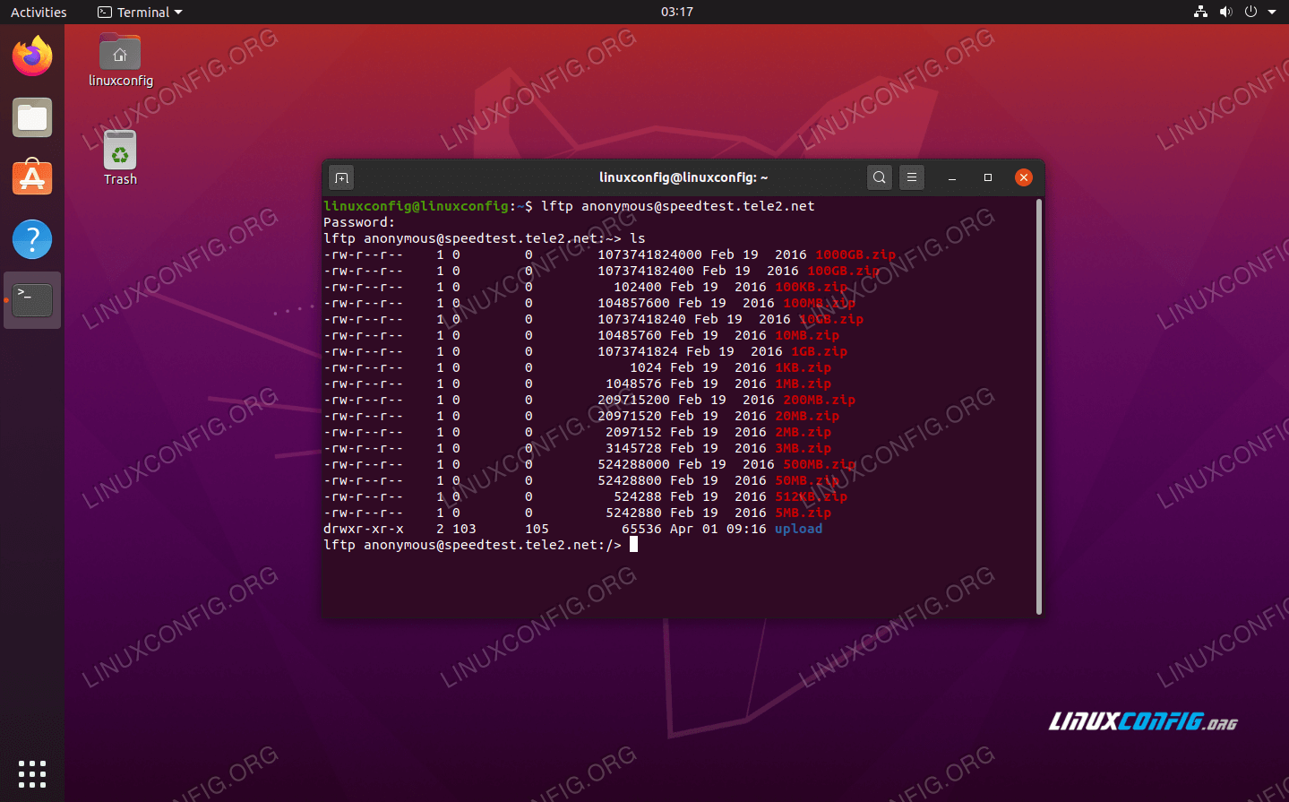 Connected with LFTP on Ubuntu 20.04