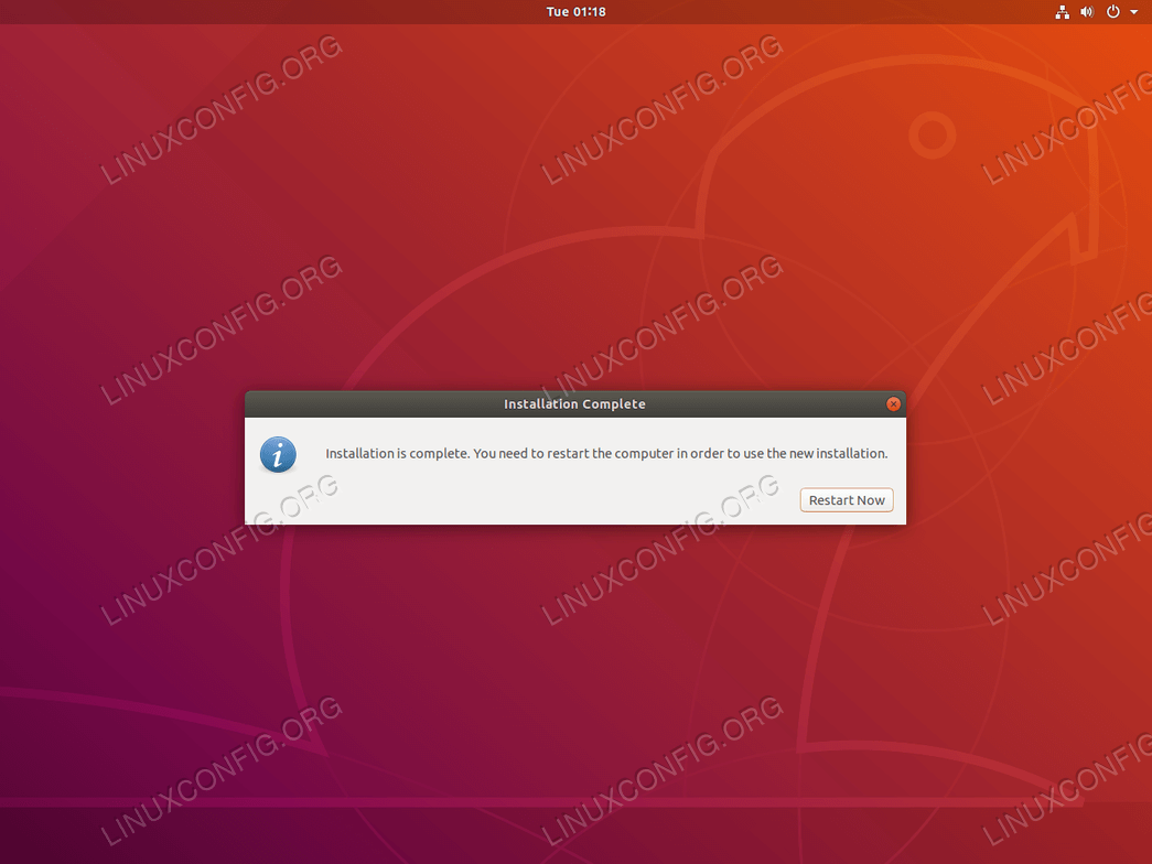 Ubuntu installation is now complete
