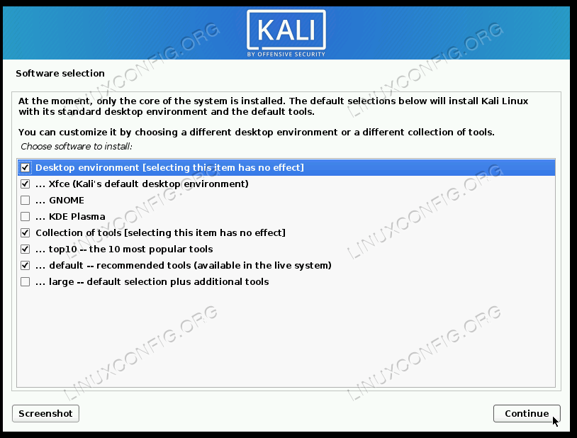 Select which packages you want included on your new Kali install