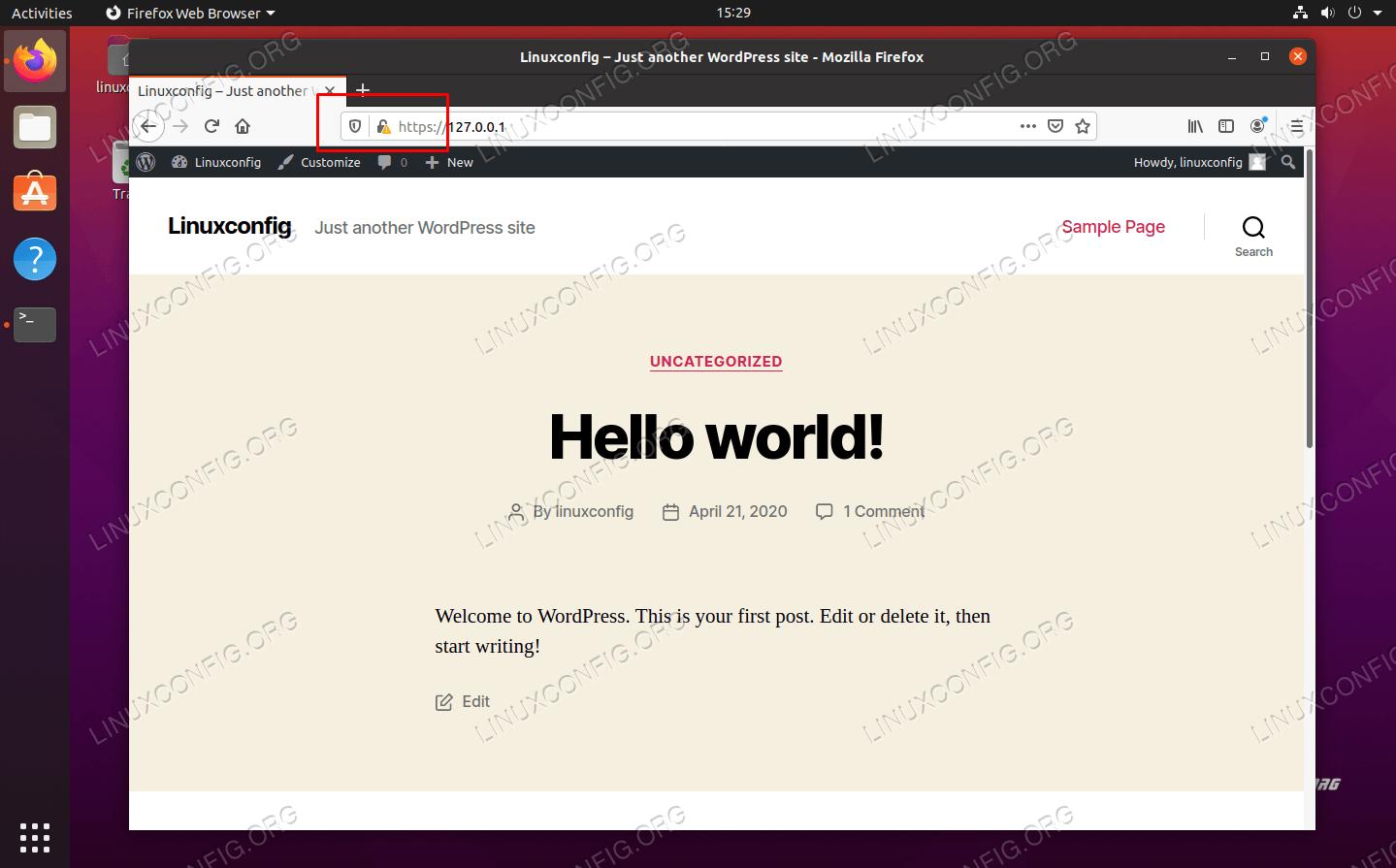 The WordPress website is now using SSL (HTTPS) encryption