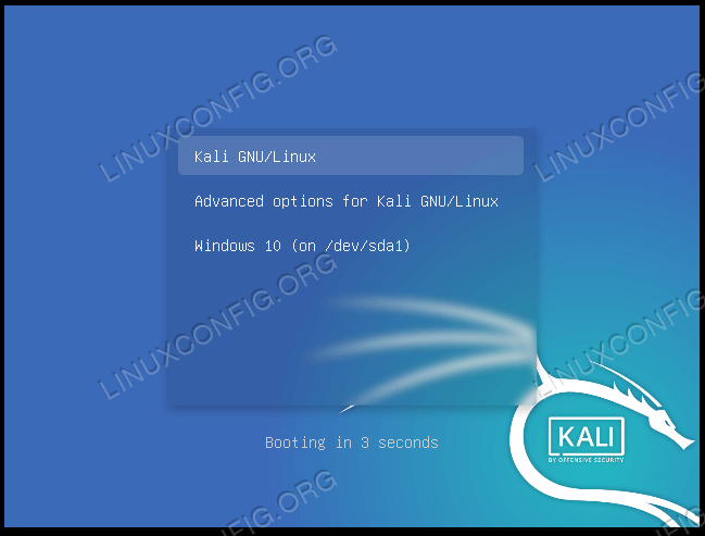 Selecting Kali or Windows at system boot