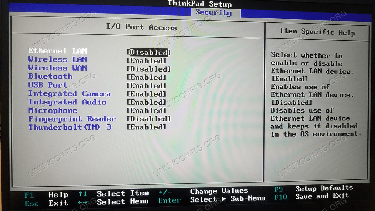 Optional I/O Port Access configuration