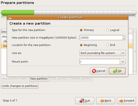 Define a attributes for a new partition