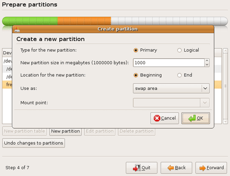 Define a attributes for a SWAP partition