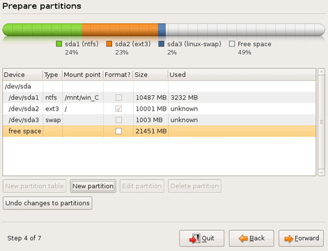 Create a first logical partition