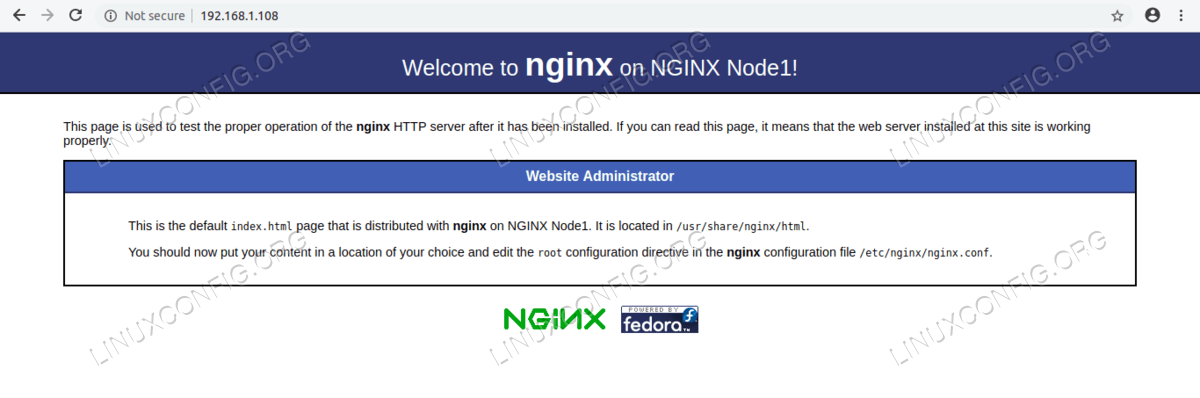 Webpage on NGINX Node1