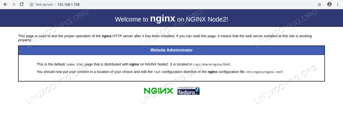 Webpage on NGINX Node2