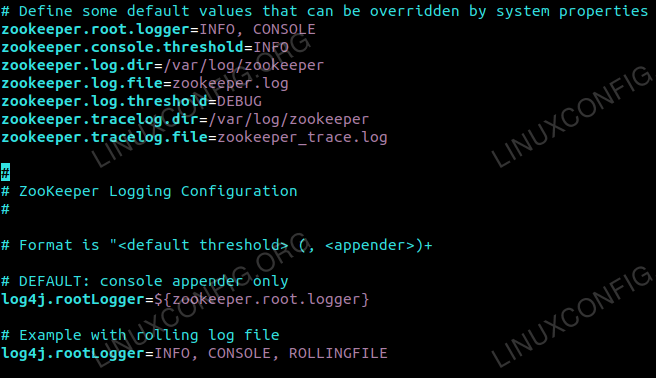 Zookeeper log4j Configuration Changes.