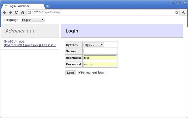 Default Adminer Login Screen