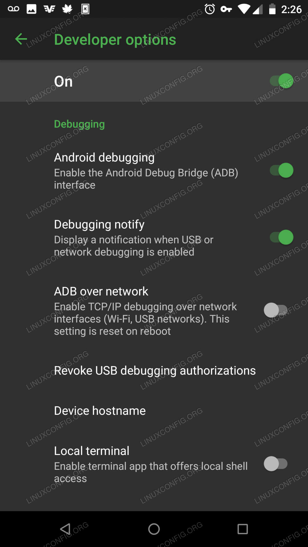 Developer Options on Android