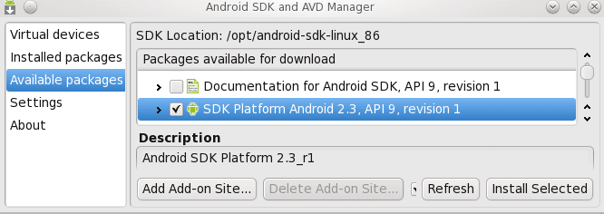 android sdk and AVD manager menu