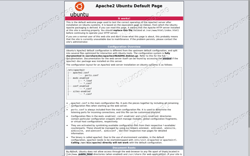 Apache welcome page