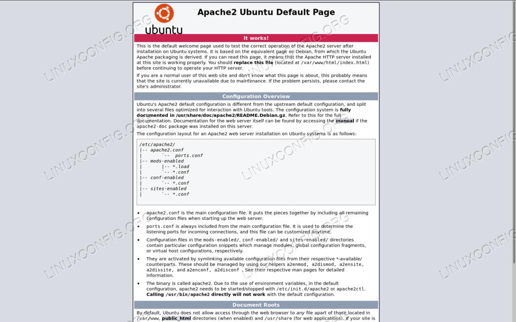 Install Apache on Ubuntu 18.04 Bionic Beaver Linux - LinuxConfig.org