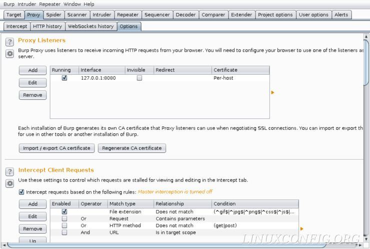 Configure the Burp Suite proxy