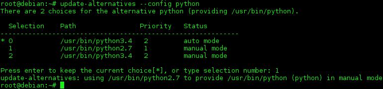 debian linux change alternative python version