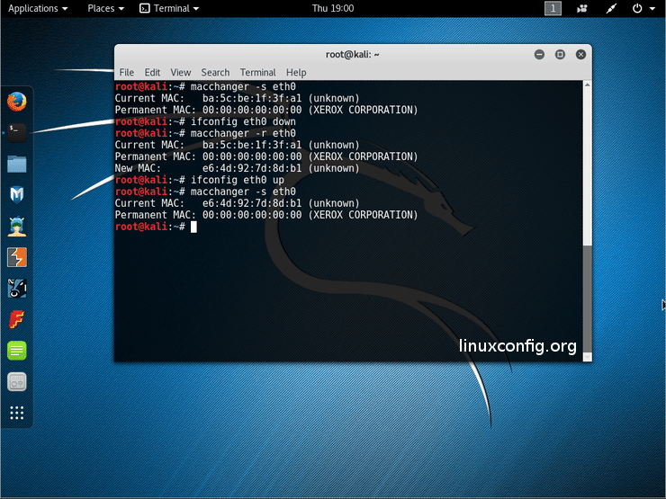 change MAC address on kali linux how