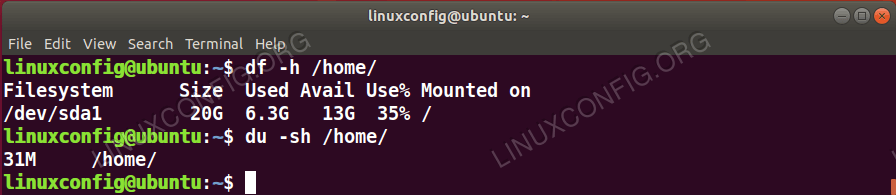 Example of using the <code>du</code> Linux command to check the size of the <code>/home</code> directory.
