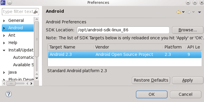 Connect android sdk with eclipse