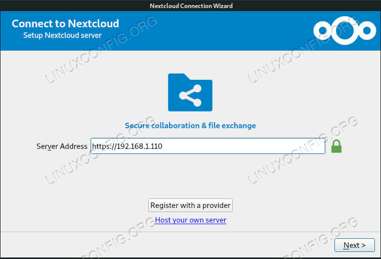 Connect to Server With Nextcloud Client on Debian 10