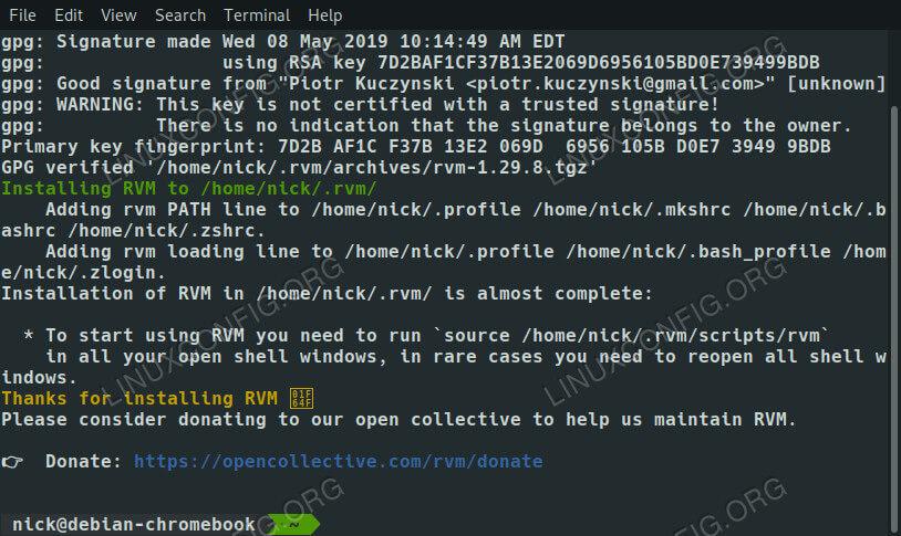 Install RVM on Debian 10