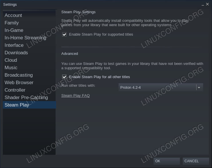 Steam Play Settings on Debian 10