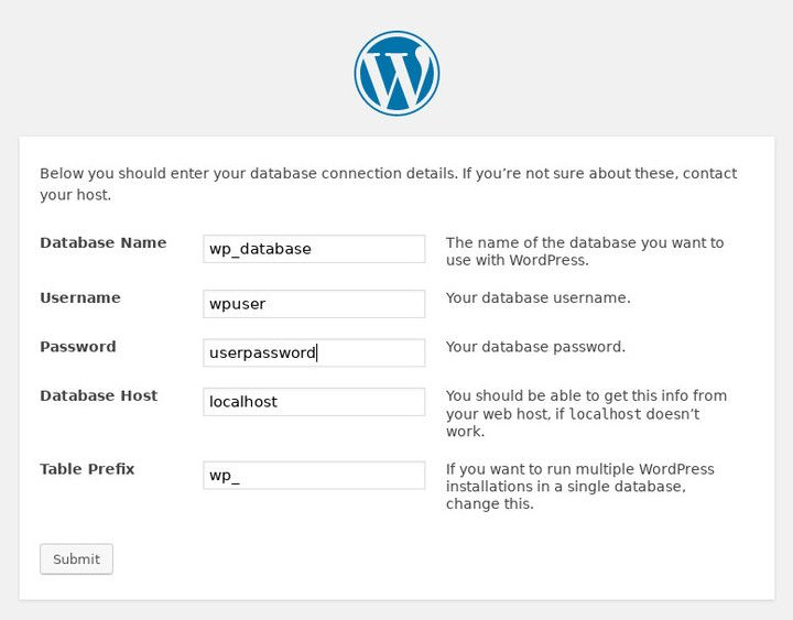 WordPress Database Setup on Debian Stretch