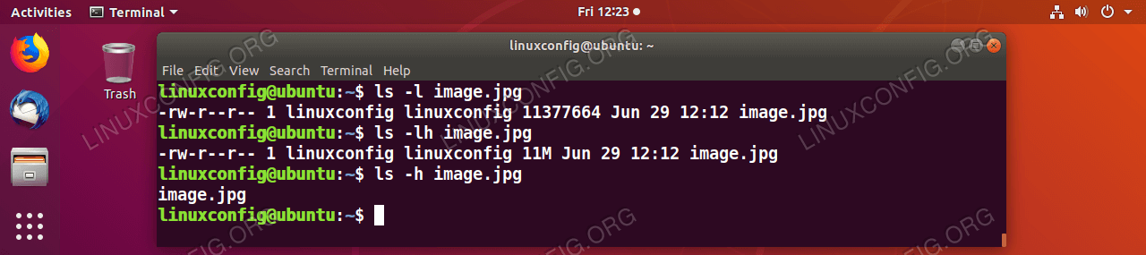 Display the file size using the ls Linux command.