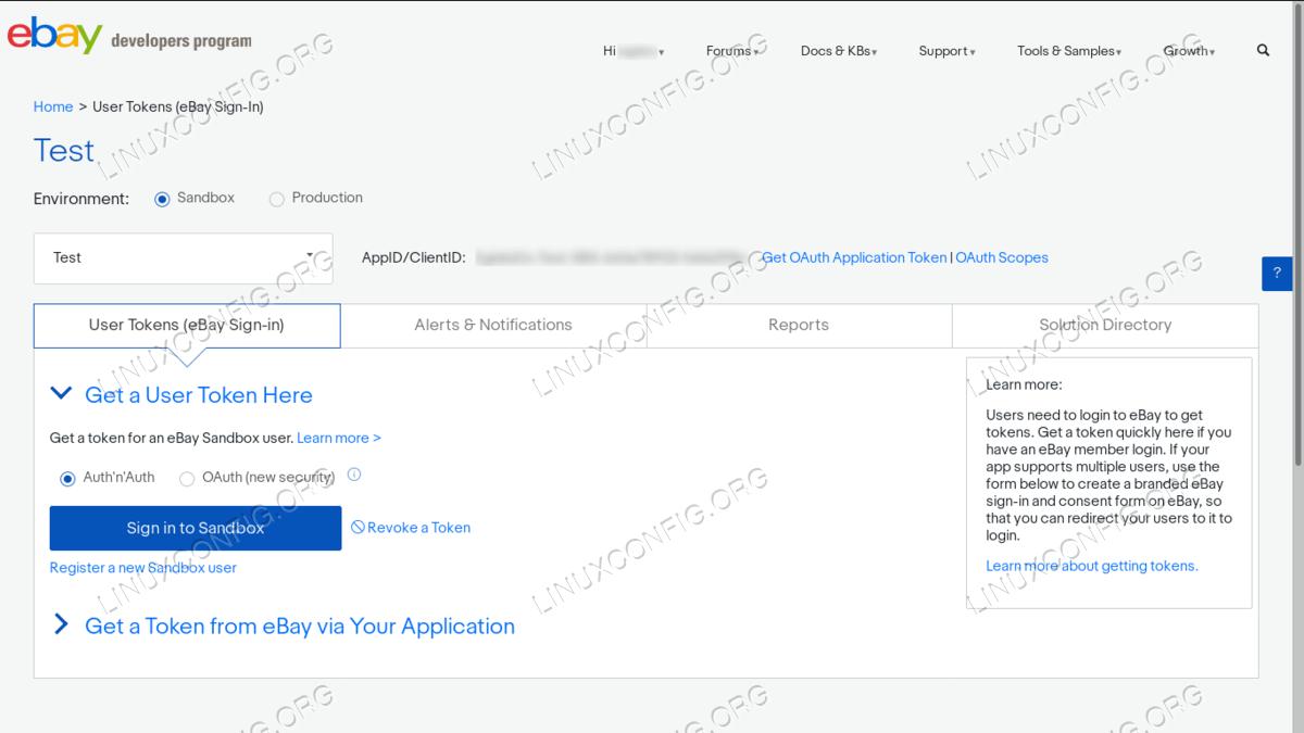 Sign-in to eBay sandbox