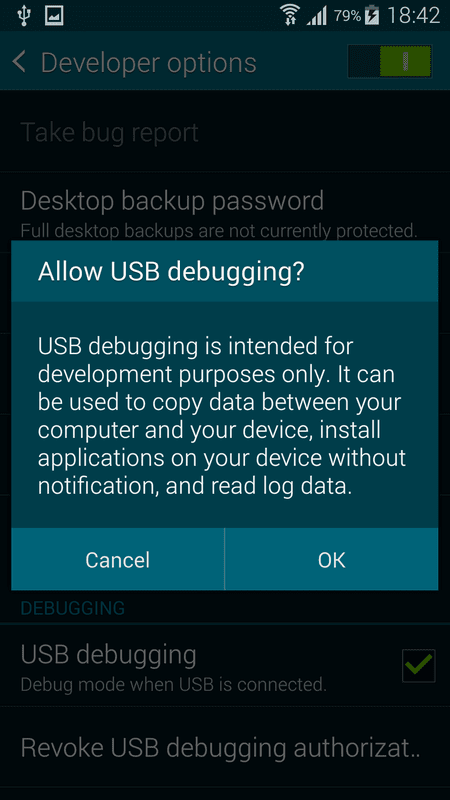 Backup Samsung Galaxy S5 using Linux with adb command line